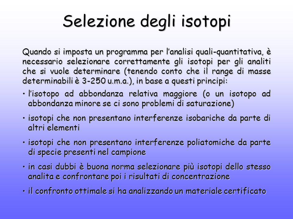 Selezione degli isotopi Quando si imposta un programma per l'analisi quali-quantitativa, è necessario selezionare correttamente gli isotopi per gli analiti che si vuole determinare (tenendo conto che il range di masse determinabili è 3-250 u.m.a.), in base a questi principi: l'isotopo ad abbondanza relativa maggiore (o un isotopo ad abbondanza minore se ci sono problemi di saturazione)l'isotopo ad abbondanza relativa maggiore (o un isotopo ad abbondanza minore se ci sono problemi di saturazione) isotopi che non presentano interferenze isobariche da parte di altri elementiisotopi che non presentano interferenze isobariche da parte di altri elementi isotopi che non presentano interferenze poliatomiche da parte di specie presenti nel campioneisotopi che non presentano interferenze poliatomiche da parte di specie presenti nel campione in casi dubbi è buona norma selezionare più isotopi dello stesso analita e confrontare poi i risultati di concentrazionein casi dubbi è buona norma selezionare più isotopi dello stesso analita e confrontare poi i risultati di concentrazione il confronto ottimale si ha analizzando un materiale certificatoil confronto ottimale si ha analizzando un materiale certificato