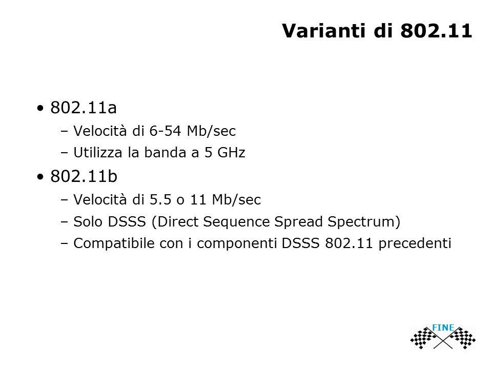 Varianti di 802.11 802.11a – Velocità di 6-54 Mb/sec – Utilizza la banda a 5 GHz 802.11b – Velocità di 5.5 o 11 Mb/sec – Solo DSSS (Direct Sequence Sp