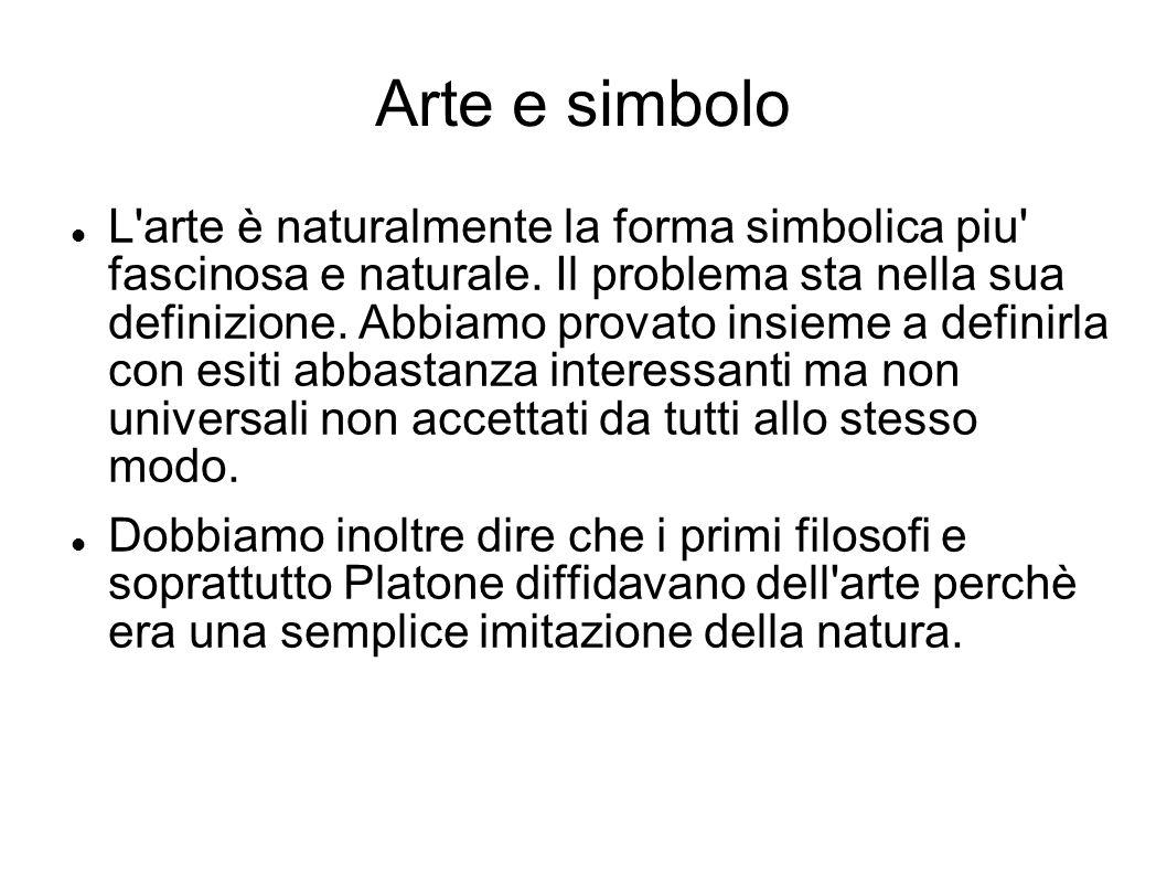Arte e simbolo L'arte è naturalmente la forma simbolica piu' fascinosa e naturale. Il problema sta nella sua definizione. Abbiamo provato insieme a de