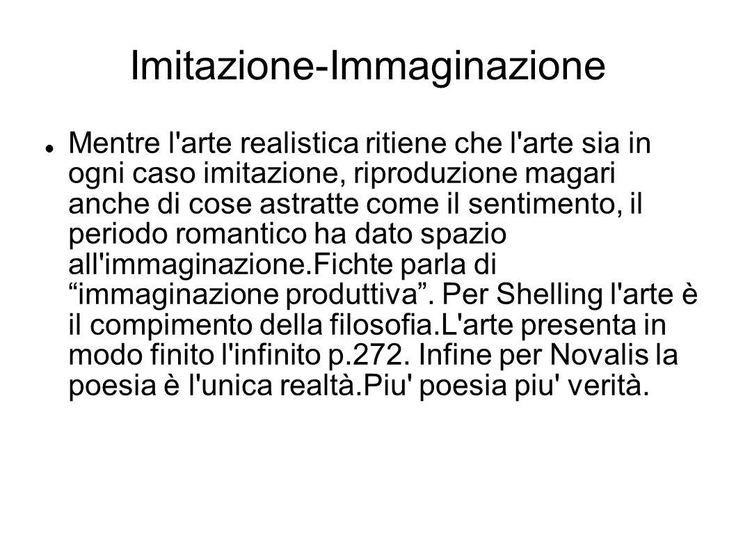 Imitazione-Immaginazione Mentre l'arte realistica ritiene che l'arte sia in ogni caso imitazione, riproduzione magari anche di cose astratte come il s