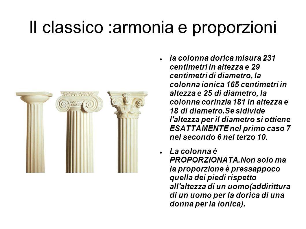 Il classico :armonia e proporzioni la colonna dorica misura 231 centimetri in altezza e 29 centimetri di diametro, la colonna ionica 165 centimetri in