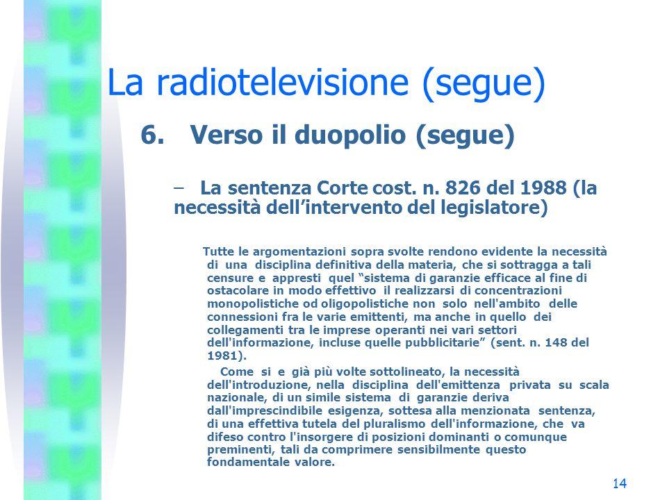 14 La radiotelevisione (segue) 6.Verso il duopolio (segue) – La sentenza Corte cost.