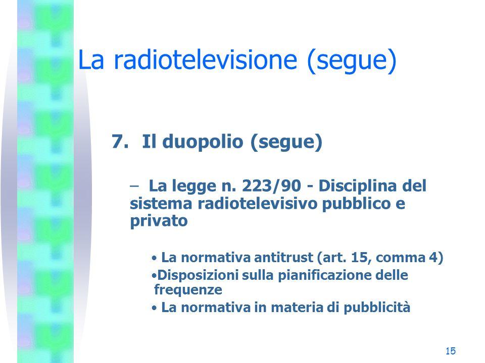 15 La radiotelevisione (segue) 7.Il duopolio (segue) – La legge n.