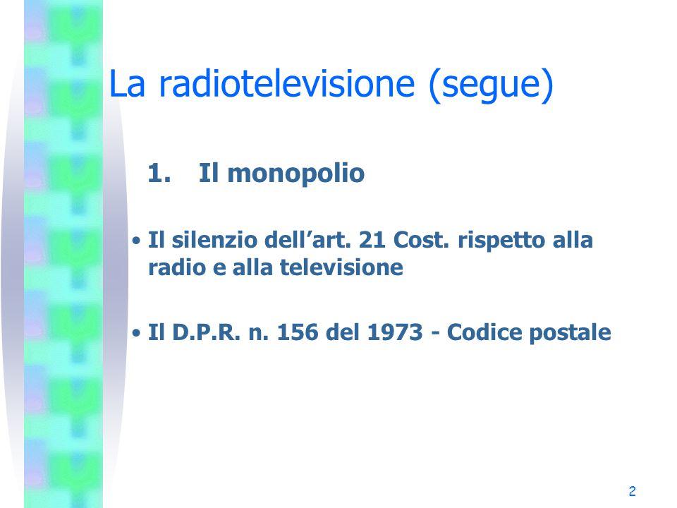 2 La radiotelevisione (segue) 1.Il monopolio Il silenzio dell'art.