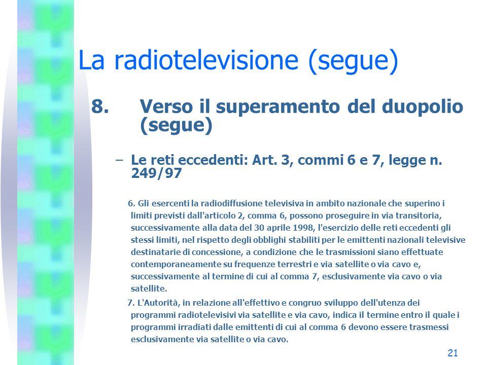 21 La radiotelevisione (segue) 8.Verso il superamento del duopolio (segue) –Le reti eccedenti: Art.