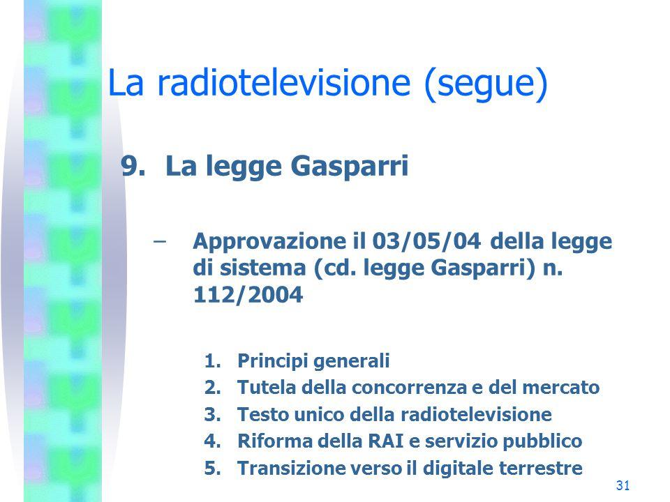 31 La radiotelevisione (segue) 9.La legge Gasparri –Approvazione il 03/05/04 della legge di sistema (cd.