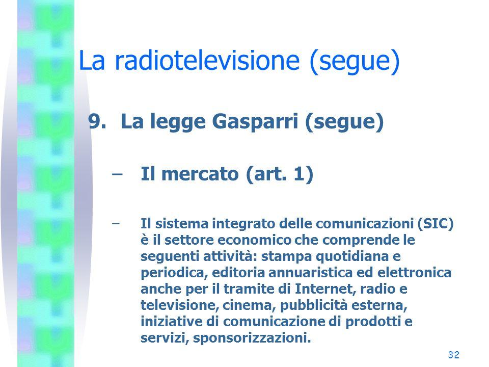 32 La radiotelevisione (segue) 9.La legge Gasparri (segue) –Il mercato (art.