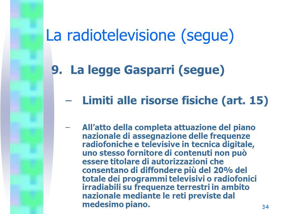 34 La radiotelevisione (segue) 9.La legge Gasparri (segue) –Limiti alle risorse fisiche (art.