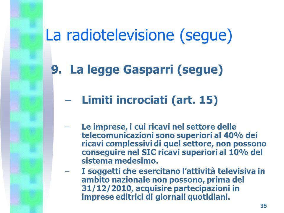 35 La radiotelevisione (segue) 9.La legge Gasparri (segue) –Limiti incrociati (art.