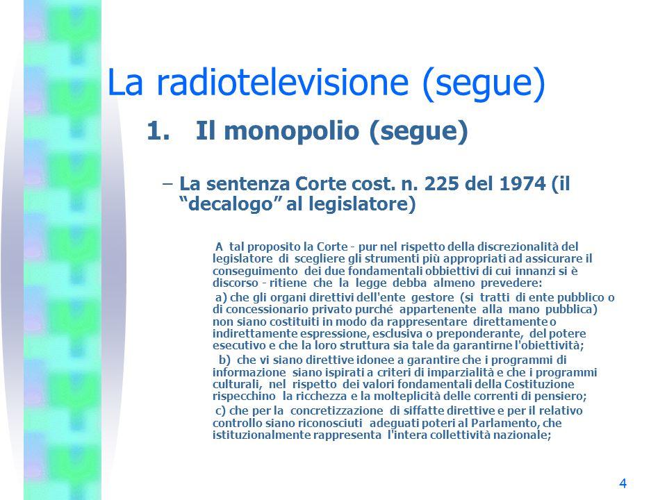 4 La radiotelevisione (segue) 1.Il monopolio (segue) –La sentenza Corte cost.