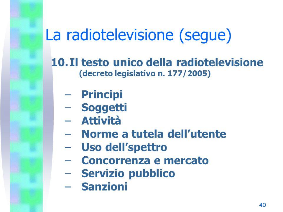 40 La radiotelevisione (segue) 10.Il testo unico della radiotelevisione (decreto legislativo n.