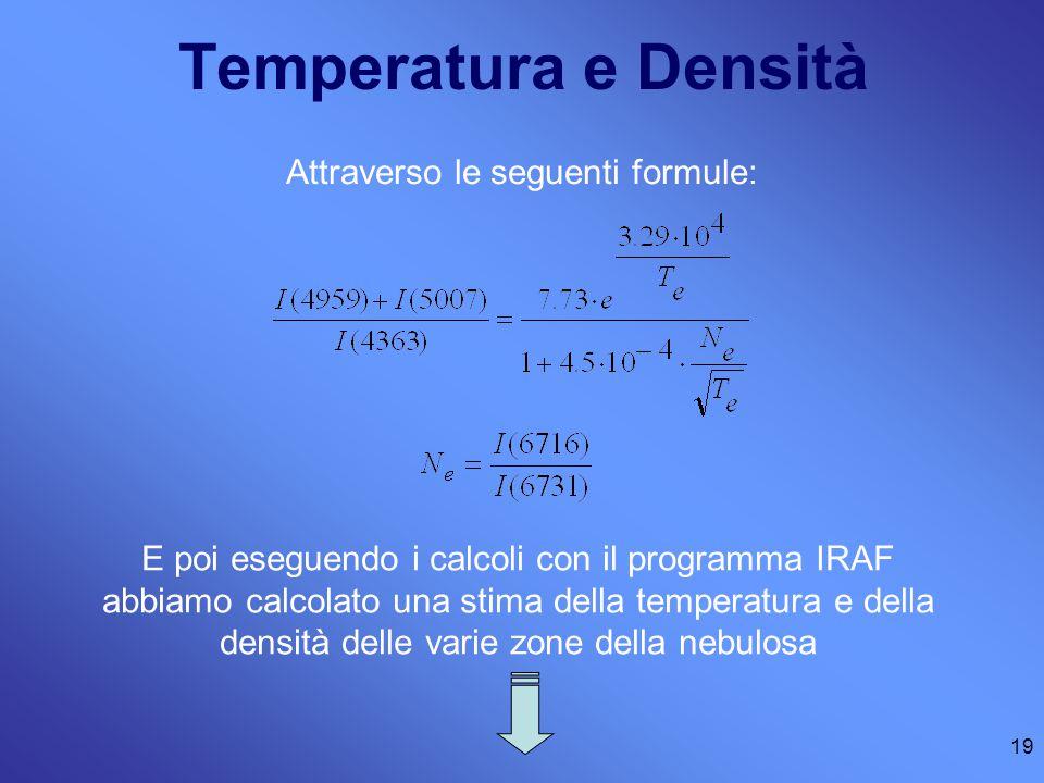 19 Temperatura e Densità Attraverso le seguenti formule: E poi eseguendo i calcoli con il programma IRAF abbiamo calcolato una stima della temperatura e della densità delle varie zone della nebulosa