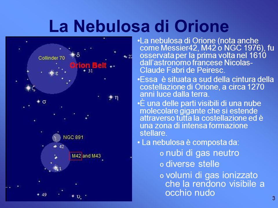 3 La Nebulosa di Orione La nebulosa di Orione (nota anche come Messier42, M42 o NGC 1976), fu osservata per la prima volta nel 1610 dall'astronomo francese Nicolas- Claude Fabri de Peiresc.