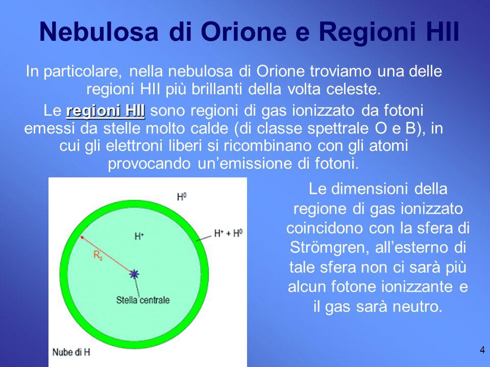 4 Nebulosa di Orione e Regioni HII In particolare, nella nebulosa di Orione troviamo una delle regioni HII più brillanti della volta celeste.