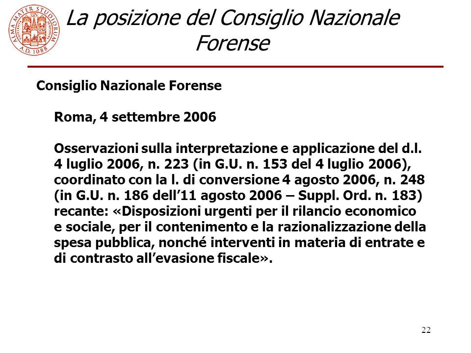 22 La posizione del Consiglio Nazionale Forense Consiglio Nazionale Forense Roma, 4 settembre 2006 Osservazioni sulla interpretazione e applicazione del d.l.
