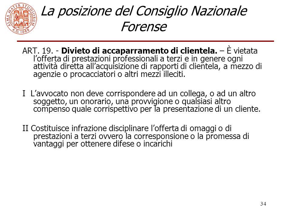 34 La posizione del Consiglio Nazionale Forense ART.