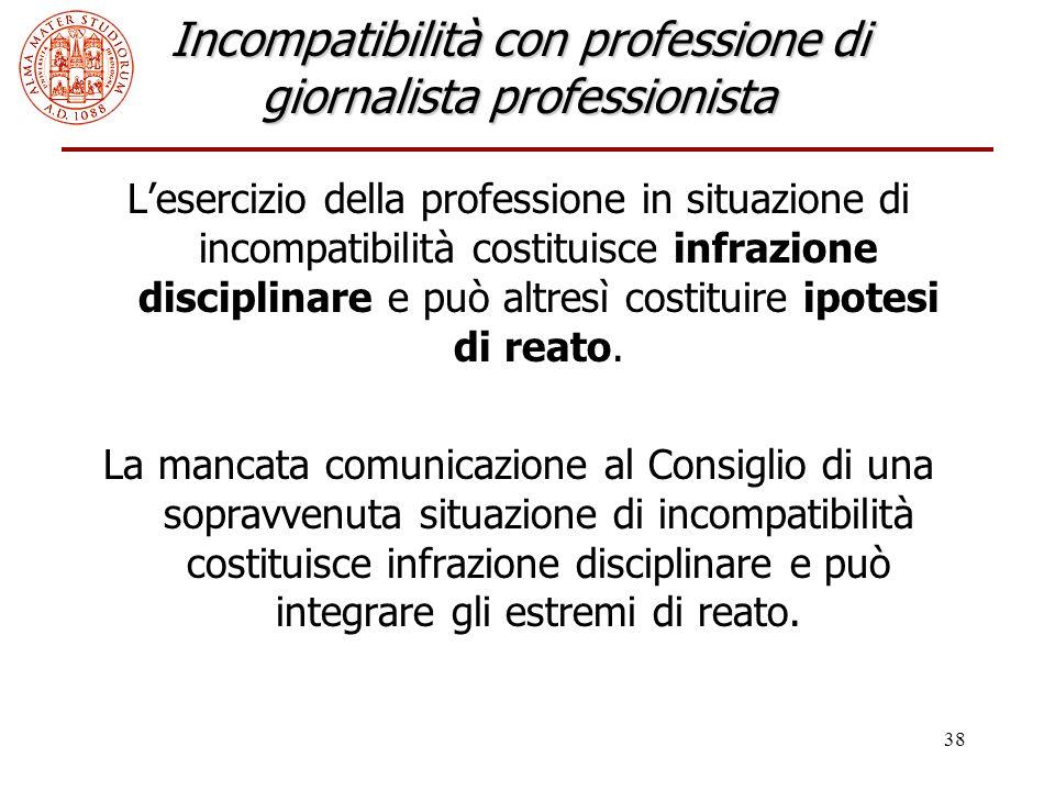 38 Incompatibilità con professione di giornalista professionista L'esercizio della professione in situazione di incompatibilità costituisce infrazione disciplinare e può altresì costituire ipotesi di reato.