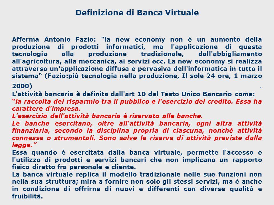 Definizione di Banca Virtuale E una nuova forma d istituzione che diviene universale e geograficamente non collocabile.