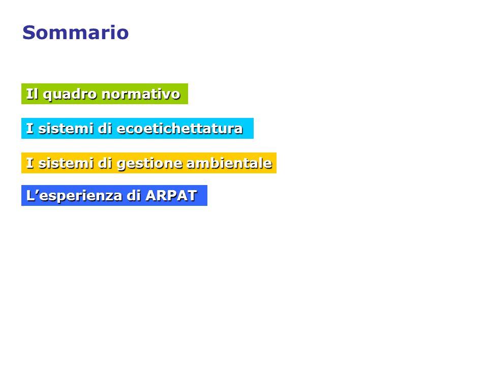 Sommario Il quadro normativo I sistemi di ecoetichettatura I sistemi di gestione ambientale L'esperienza di ARPAT