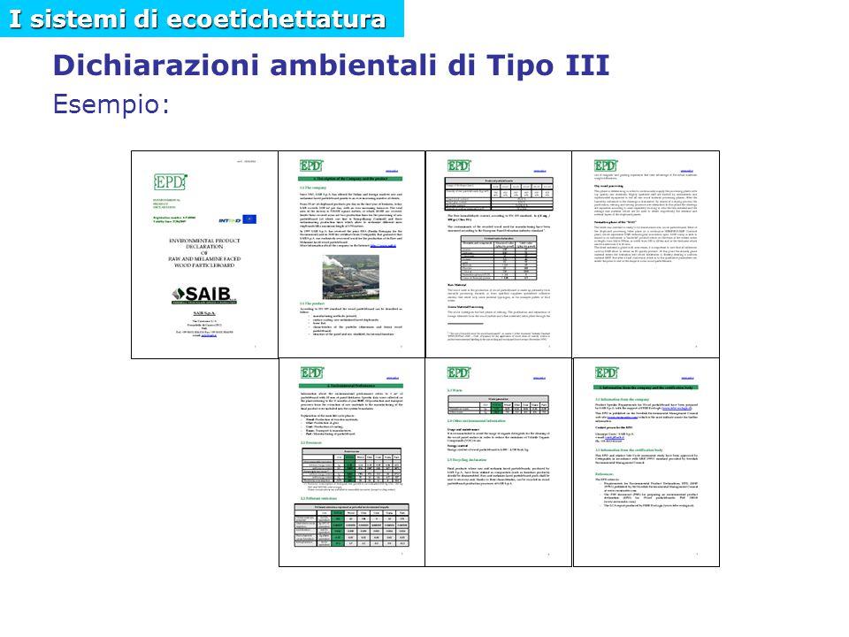 Dichiarazioni ambientali di Tipo III Esempio: I sistemi di ecoetichettatura