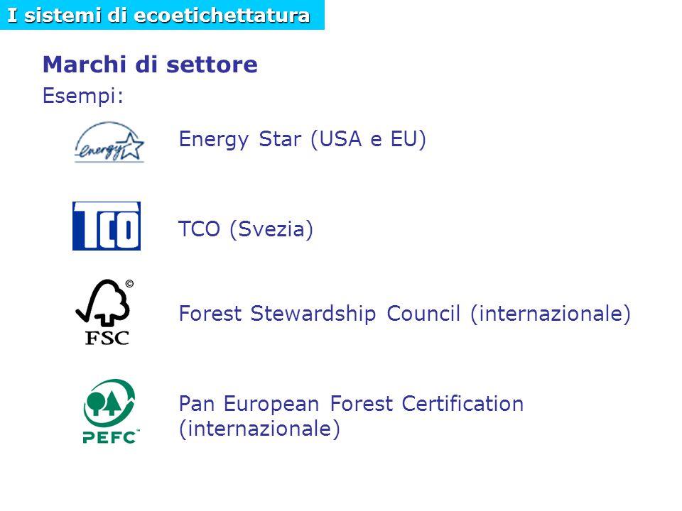 Marchi di settore Esempi: Energy Star (USA e EU) TCO (Svezia) Forest Stewardship Council (internazionale) Pan European Forest Certification (internazionale) I sistemi di ecoetichettatura