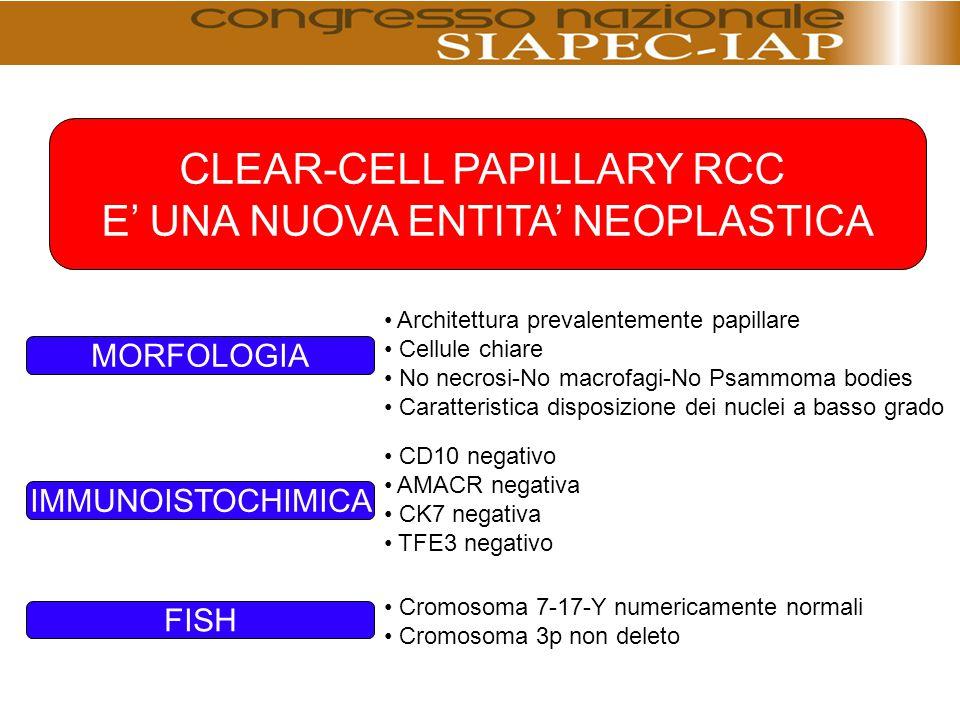 CLEAR-CELL PAPILLARY RCC E' UNA NUOVA ENTITA' NEOPLASTICA Architettura prevalentemente papillare Cellule chiare No necrosi-No macrofagi-No Psammoma bo