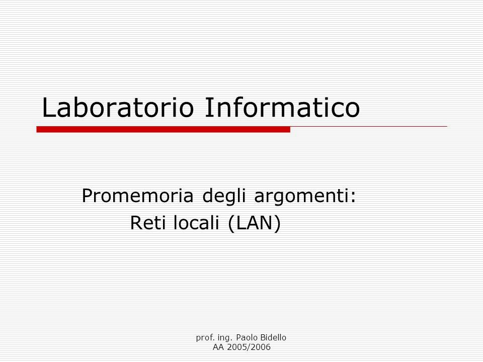 prof.ing. Paolo Bidello AA 2005/2006 Argomenti della lezione  Reti locali.