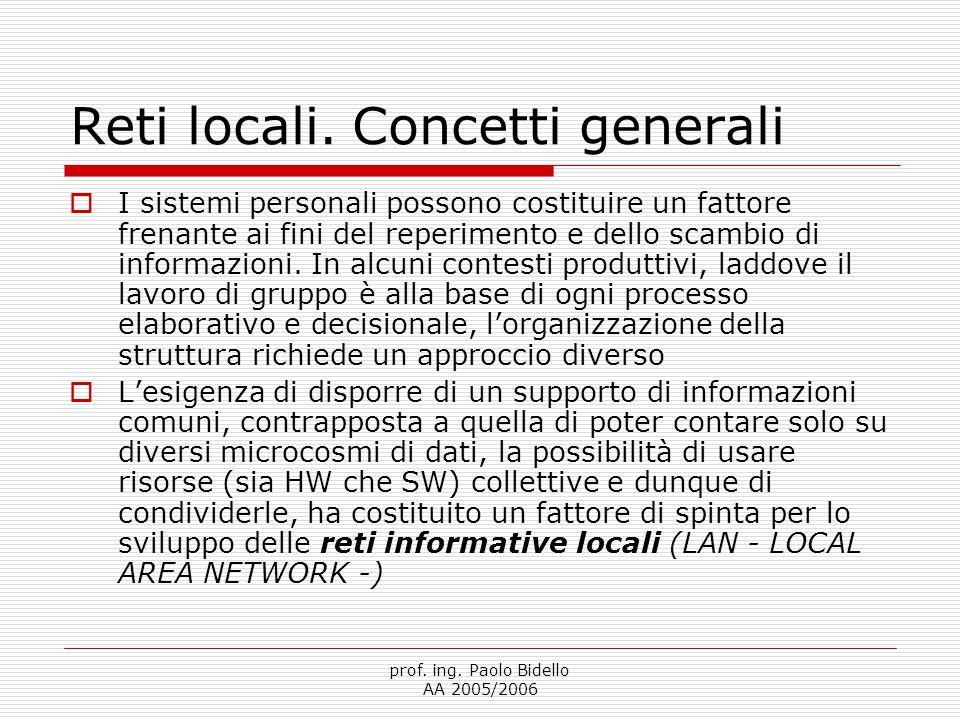 prof.ing. Paolo Bidello AA 2005/2006 Reti locali.