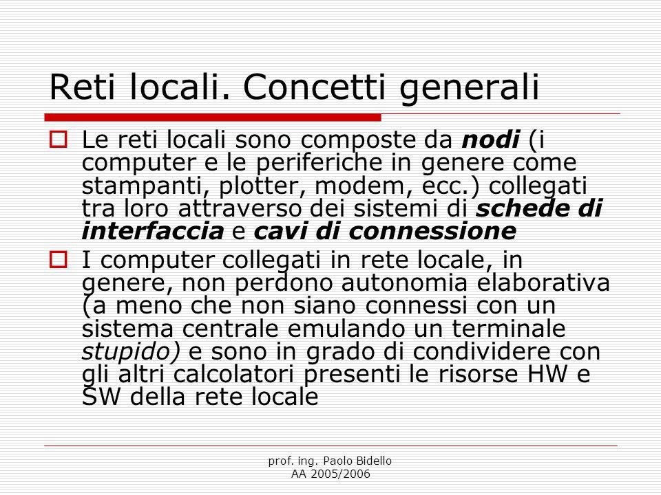prof. ing. Paolo Bidello AA 2005/2006 Reti locali.