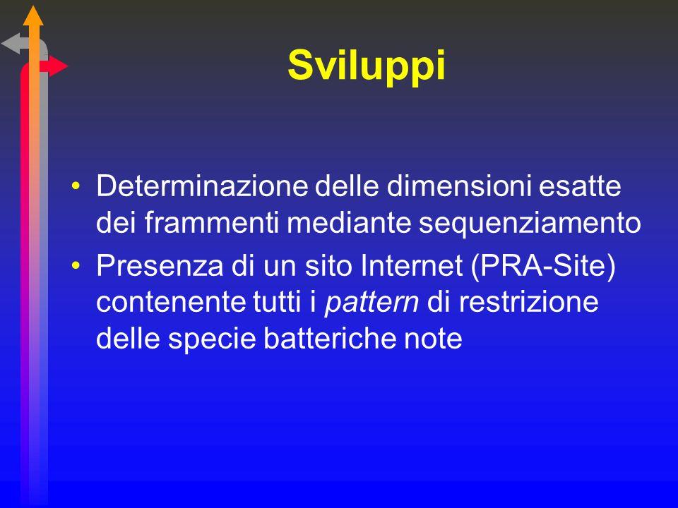 Sviluppi Determinazione delle dimensioni esatte dei frammenti mediante sequenziamento Presenza di un sito Internet (PRA-Site) contenente tutti i patte