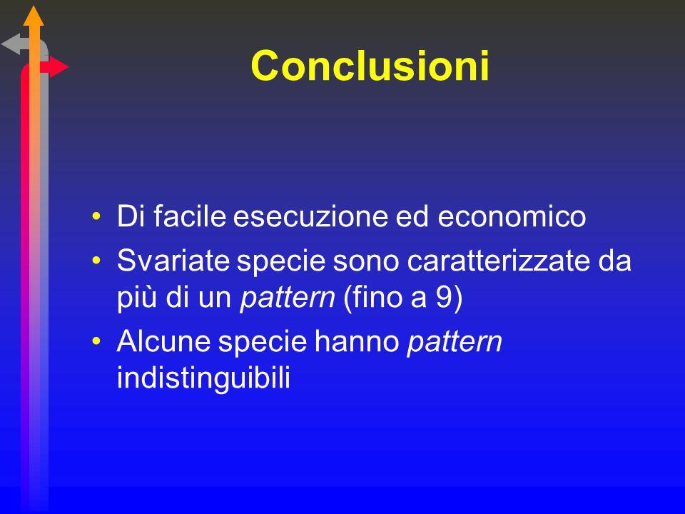 Conclusioni Di facile esecuzione ed economico Svariate specie sono caratterizzate da più di un pattern (fino a 9) Alcune specie hanno pattern indistin