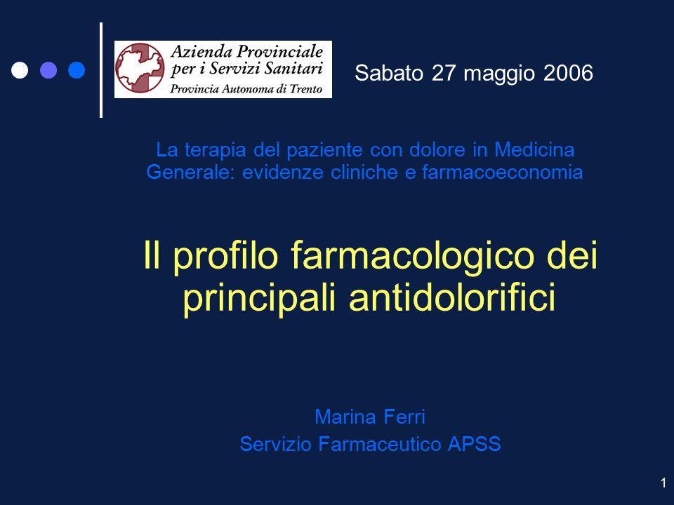 1 Sabato 27 maggio 2006 La terapia del paziente con dolore in Medicina Generale: evidenze cliniche e farmacoeconomia Il profilo farmacologico dei prin