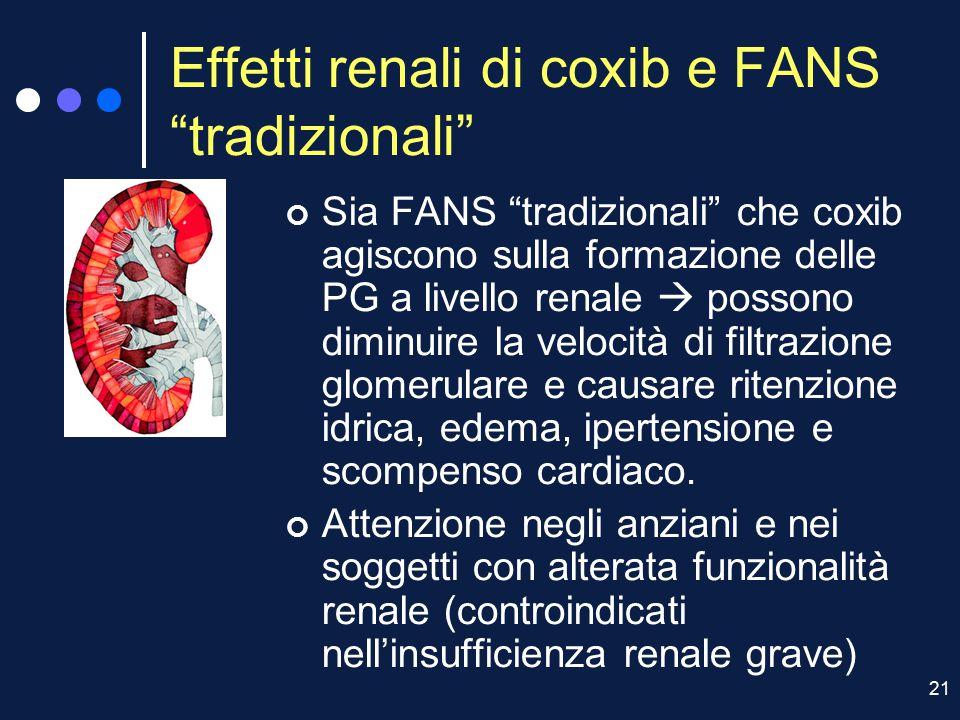 """21 Effetti renali di coxib e FANS """"tradizionali"""" Sia FANS """"tradizionali"""" che coxib agiscono sulla formazione delle PG a livello renale  possono dimin"""
