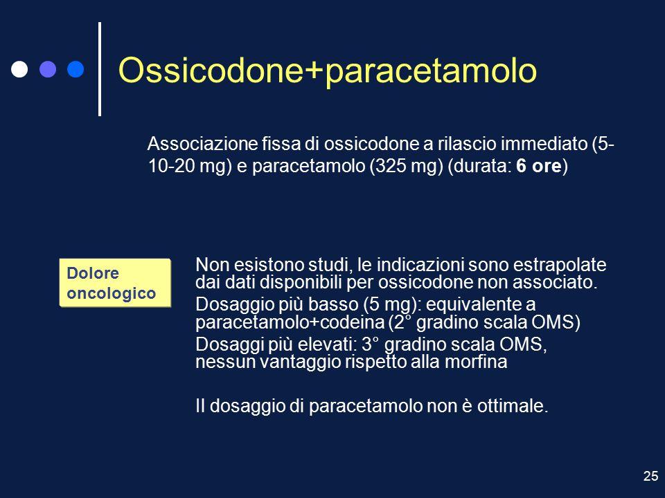 25 Ossicodone+paracetamolo Dolore oncologico Associazione fissa di ossicodone a rilascio immediato (5- 10-20 mg) e paracetamolo (325 mg) (durata: 6 or