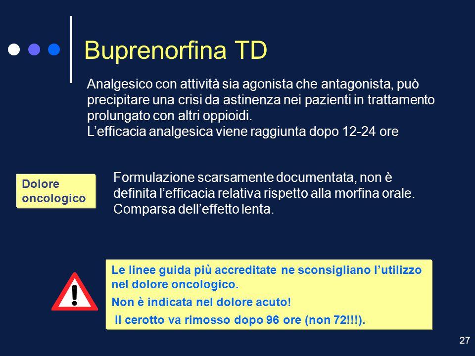 27 Buprenorfina TD Dolore oncologico Analgesico con attività sia agonista che antagonista, può precipitare una crisi da astinenza nei pazienti in trat