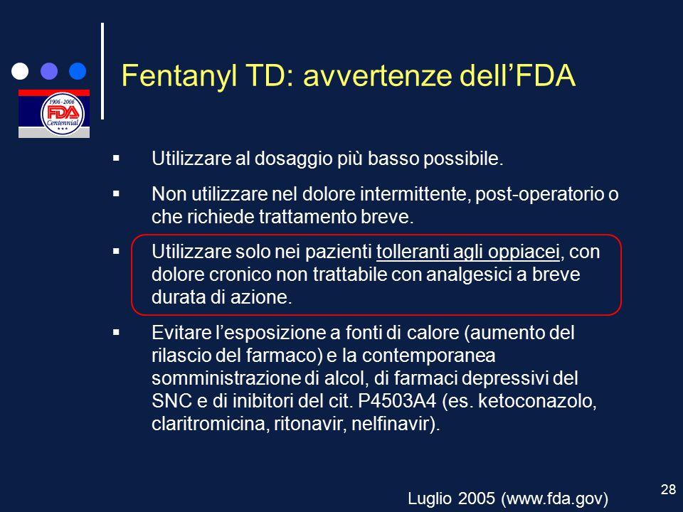 28 Fentanyl TD: avvertenze dell'FDA Luglio 2005 (www.fda.gov)  Utilizzare al dosaggio più basso possibile.  Non utilizzare nel dolore intermittente,