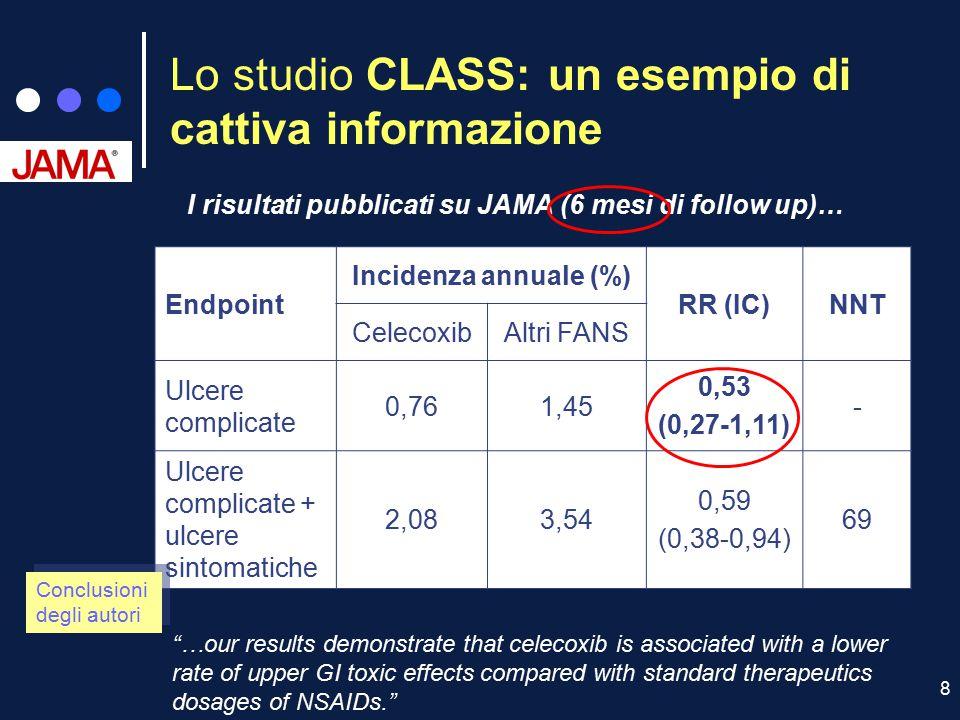 8 Lo studio CLASS: un esempio di cattiva informazione I risultati pubblicati su JAMA (6 mesi di follow up)… Endpoint Incidenza annuale (%) RR (IC)NNT