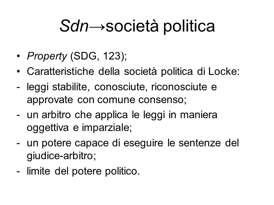 Il patto/contratto di Locke Sottoscritto dagli individui liberamente: chi vuole può NON aderire; Scopo del patto non è solo quello di sopravvivere, ma anche quello di vivere bene, nella tranquillità e nella pace reciproca, assicurandosi il godimento delle proprietà e una maggiore protezione contro coloro che a quella società non appartengono (STG, 95); legislativoIl supremo potere è il potere legislativo; Il potere legislativo deve: -muoversi nell'ambito fissato dalla legge di natura, rispettando i diritti inalienabili che da essa derivano; -governare attraverso leggi generali, e non ad personam; - il potere supremo non può togliere a un uomo una parte della sua proprietà senza il suo consenso ; -Il legislativo non deve né può trasferire ad altri il potere di legiferare, né affidarlo a mani diverse da quelle cui l'ha affidato il popolo (articolazione dei poteri).