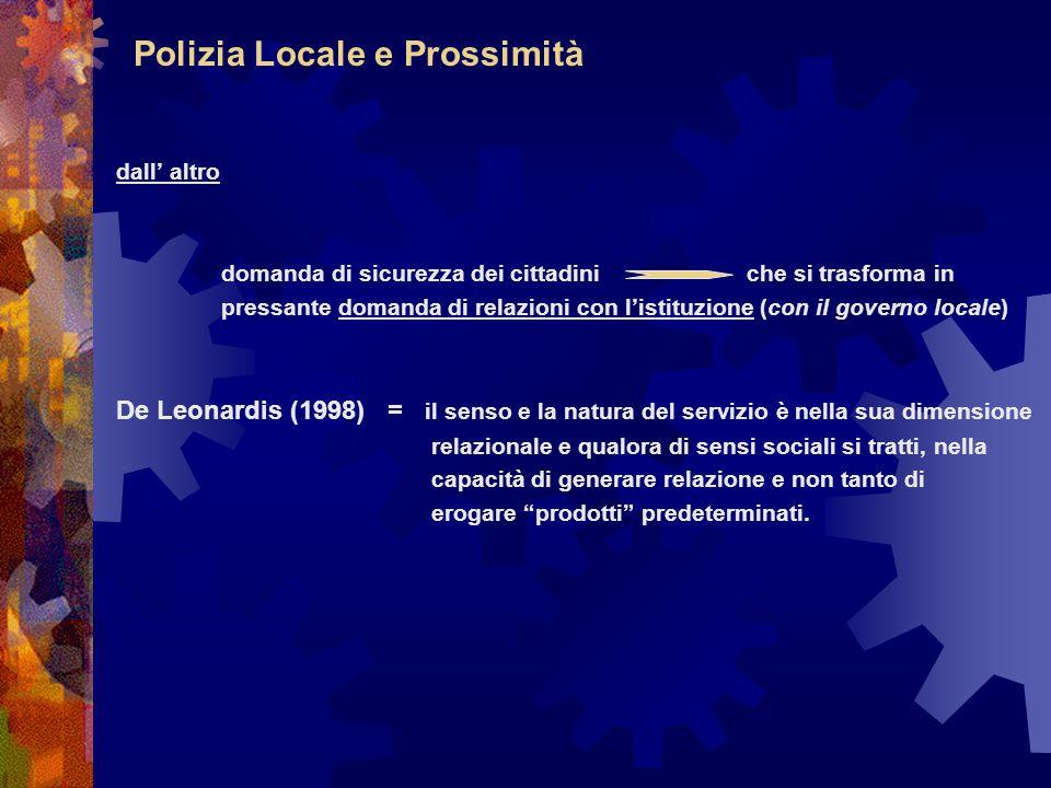 Polizia Locale e Prossimità dall' altro domanda di sicurezza dei cittadiniche si trasforma in pressante domanda di relazioni con l'istituzione (con il