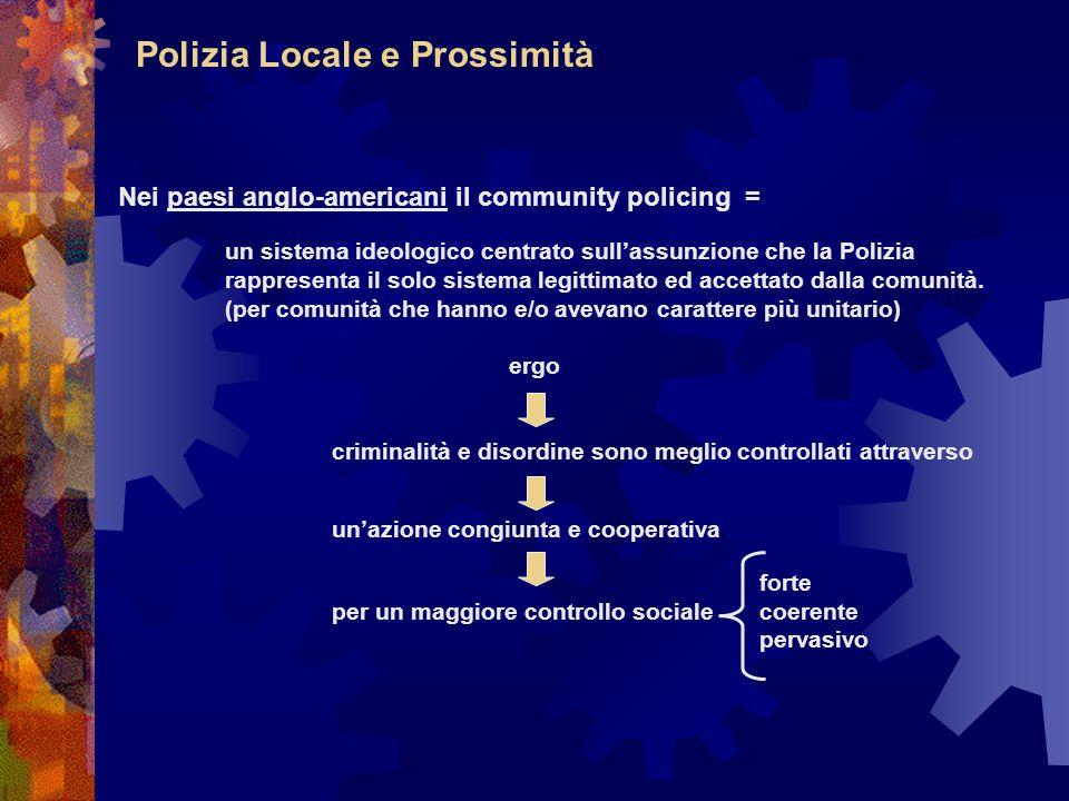 Polizia Locale e Prossimità Nei paesi anglo-americani il community policing = un sistema ideologico centrato sull'assunzione che la Polizia rappresenta il solo sistema legittimato ed accettato dalla comunità.