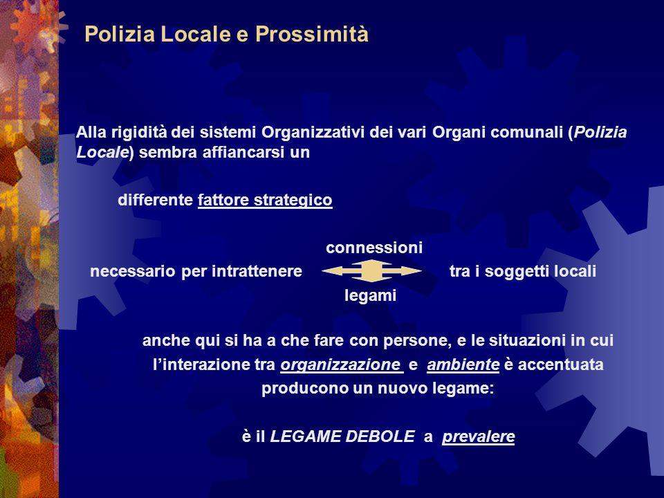 Polizia Locale e Prossimità Alla rigidità dei sistemi Organizzativi dei vari Organi comunali (Polizia Locale) sembra affiancarsi un differente fattore