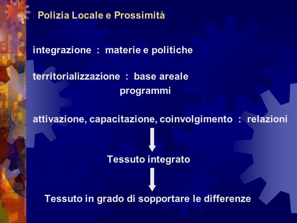 Polizia Locale e Prossimità integrazione : materie e politiche territorializzazione : base areale programmi attivazione, capacitazione, coinvolgimento : relazioni Tessuto integrato Tessuto in grado di sopportare le differenze