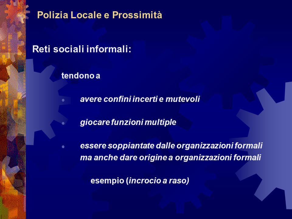 Polizia Locale e Prossimità Reti sociali informali: tendono a avere confini incerti e mutevoli giocare funzioni multiple essere soppiantate dalle orga