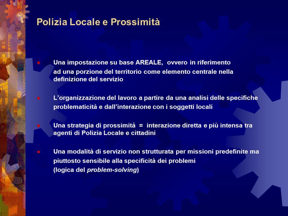 Polizia Locale e Prossimità  Una impostazione su base AREALE, ovvero in riferimento ad una porzione del territorio come elemento centrale nella defin