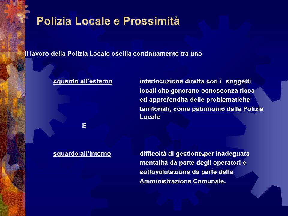 Polizia Locale e Prossimità Il lavoro della Polizia Locale oscilla continuamente tra uno sguardo all'esternointerlocuzione diretta con i soggetti loca