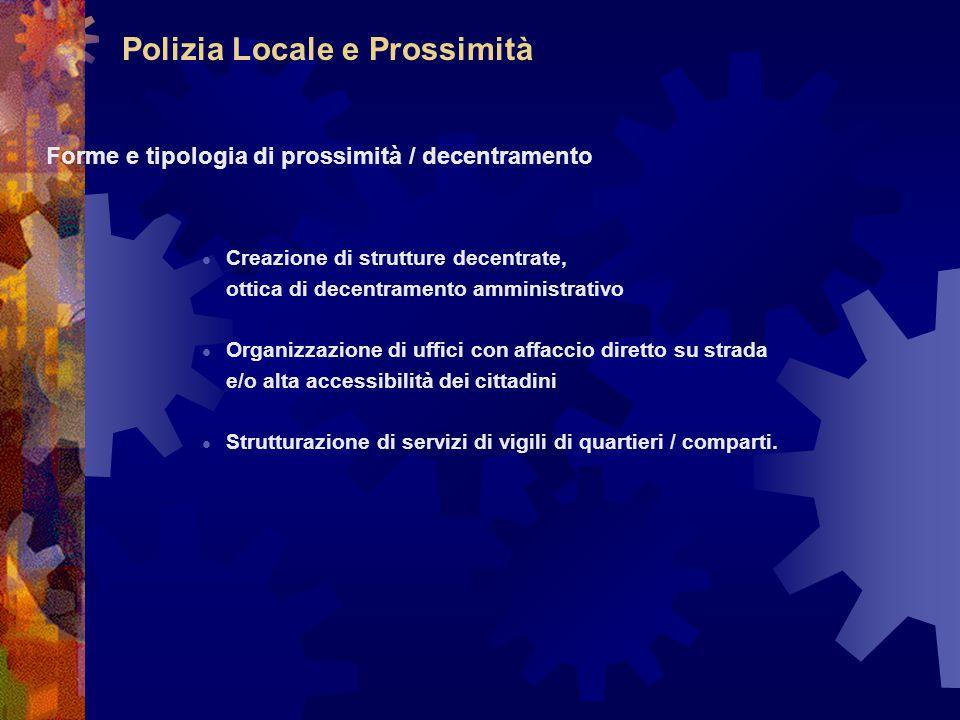 Polizia Locale e Prossimità Forme e tipologia di prossimità / decentramento Creazione di strutture decentrate, ottica di decentramento amministrativo