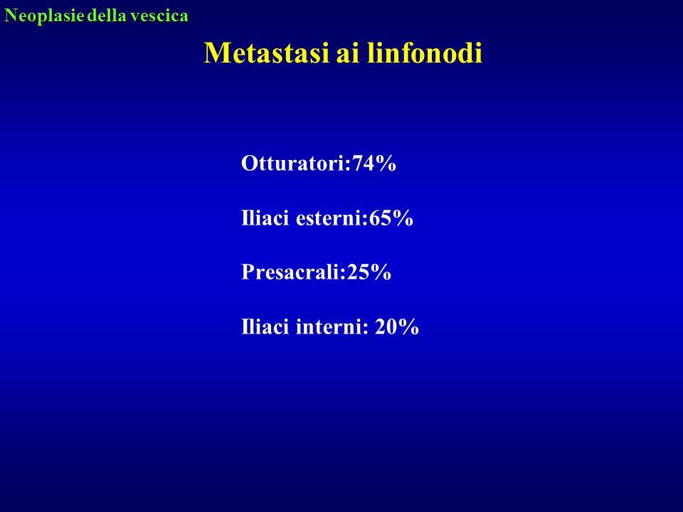 Otturatori:74% Iliaci esterni:65% Presacrali:25% Iliaci interni: 20% Neoplasie della vescica Metastasi ai linfonodi