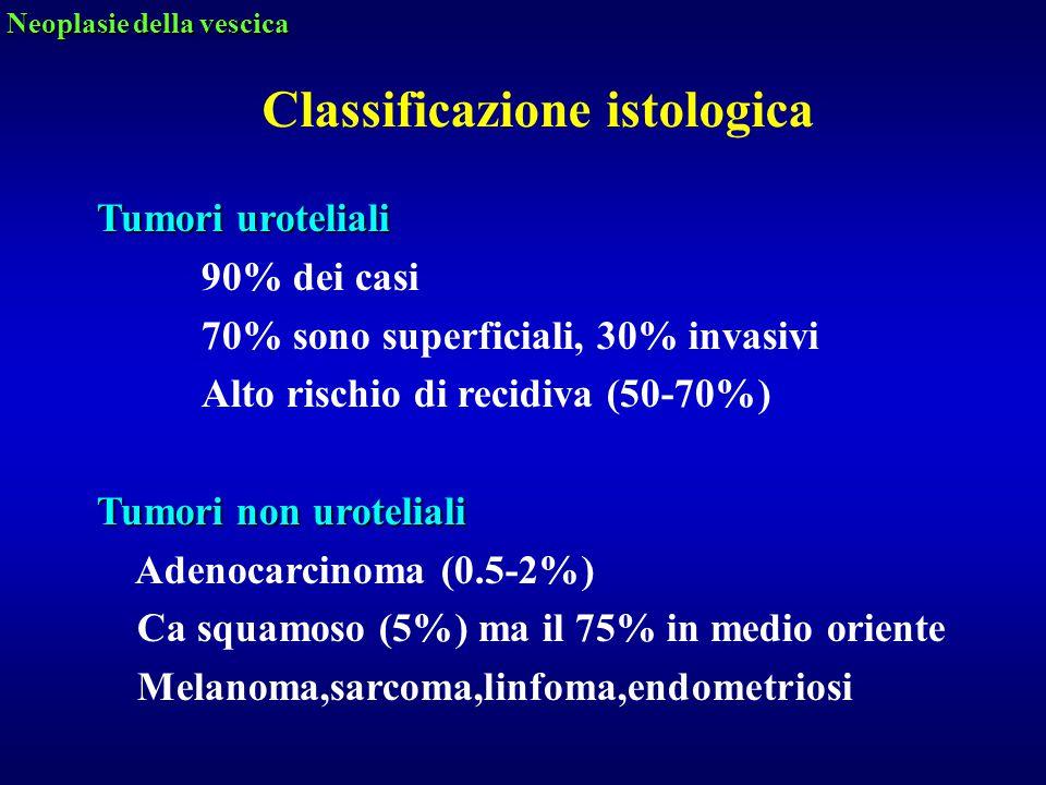 Tumori uroteliali 90% dei casi 70% sono superficiali, 30% invasivi Alto rischio di recidiva (50-70%) Tumori non uroteliali Adenocarcinoma (0.5-2%) Ca
