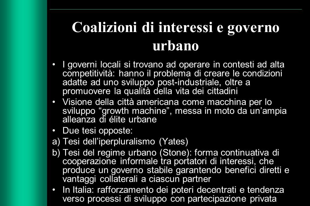 Coalizioni di interessi e governo urbano I governi locali si trovano ad operare in contesti ad alta competitività: hanno il problema di creare le cond