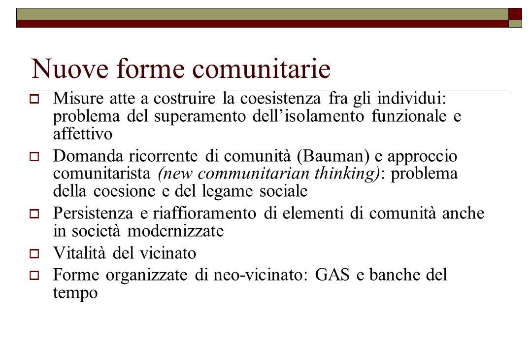 Nuove forme comunitarie  Misure atte a costruire la coesistenza fra gli individui: problema del superamento dell'isolamento funzionale e affettivo 